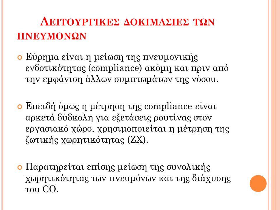 Λ ΕΙΤΟΥΡΓΙΚΕΣ ΔΟΚΙΜΑΣΙΕΣ ΤΩΝ ΠΝΕΥΜΟΝΩΝ Εύρημα είναι η μείωση της πνευμονικής ενδοτικότητας (compliance) ακόμη και πριν από την εμφάνιση άλλων συμπτωμά