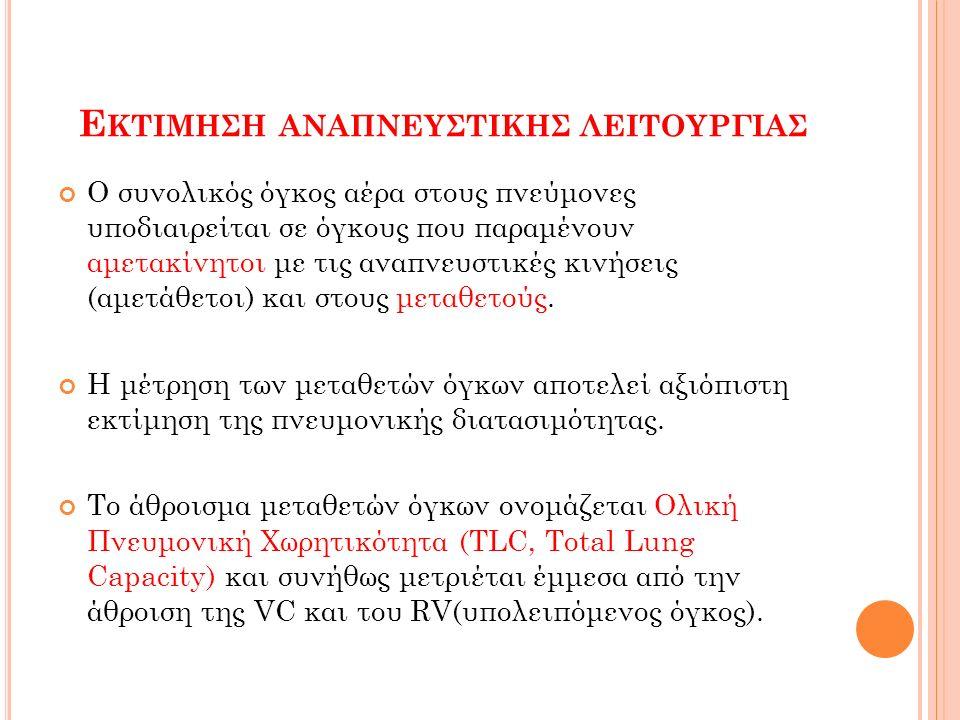 Ε ΚΤΙΜΗΣΗ ΑΝΑΠΝΕΥΣΤΙΚΗΣ ΛΕΙΤΟΥΡΓΙΑΣ Ο συνολικός όγκος αέρα στους πνεύμονες υποδιαιρείται σε όγκους που παραμένουν αμετακίνητοι με τις αναπνευστικές κινήσεις (αμετάθετοι) και στους μεταθετούς.