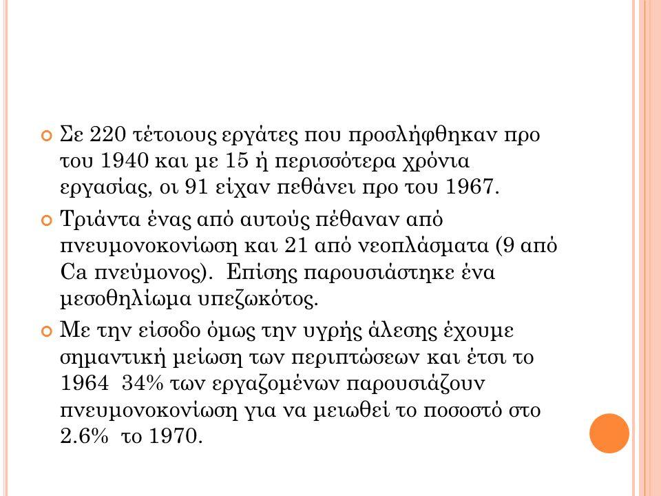 Σε 220 τέτοιους εργάτες που προσλήφθηκαν προ του 1940 και με 15 ή περισσότερα χρόνια εργασίας, οι 91 είχαν πεθάνει προ του 1967.
