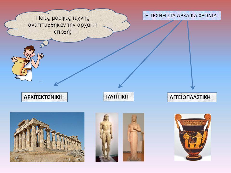Ποιες μορφές τέχνης αναπτύχθηκαν την αρχαϊκή εποχή; Η ΤΕΧΝΗ ΣΤΑ ΑΡΧΑΪΚΑ ΧΡΟΝΙΑ ΑΡΧΙΤΕΚΤΟΝΙΚΗ ΓΛΥΠΤΙΚΗ ΑΓΓΕΙΟΠΛΑΣΤΙΚΗ