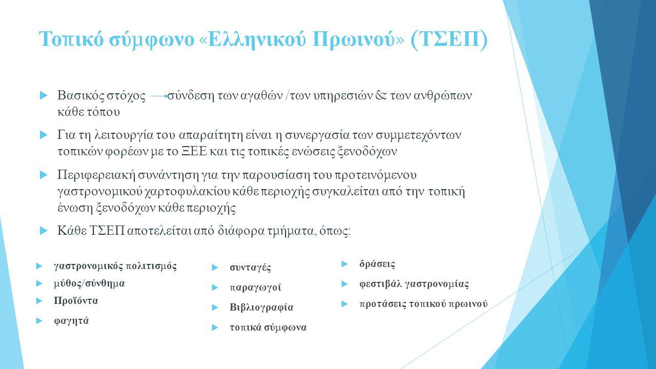 Το π ικό σύ μ φωνο « Ελληνικού Πρωινού » ( ΤΣΕΠ )  Βασικός στόχος σύνδεση των αγαθών / των υ π ηρεσιών & των ανθρώ π ων κάθε τό π ου  Για τη λειτουργία του α π αραίτητη είναι η συνεργασία των συ μμ ετεχόντων το π ικών φορέων μ ε το ΞΕΕ και τις το π ικές ενώσεις ξενοδόχων  Περιφερειακή συνάντηση για την π αρουσίαση του π ροτεινό μ ενου γαστρονο μ ικού χαρτοφυλακίου κάθε π εριοχής συγκαλείται α π ό την το π ική ένωση ξενοδόχων κάθε π εριοχής  Κάθε ΤΣΕΠ α π οτελείται α π ό διάφορα τ μ ή μ ατα, ό π ως :  γαστρονο μ ικός π ολιτισ μ ός  μ ύθος / σύνθη μ α  Προϊόντα  φαγητά  συνταγές  π αραγωγοί  Βιβλιογραφία  το π ικά σύ μ φωνα  δράσεις  φεστιβάλ γαστρονο μ ίας  π ροτάσεις το π ικού π ρωινού