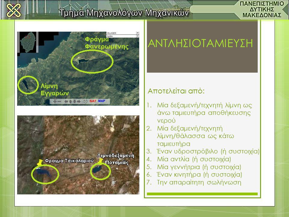 ΑΝΤΛΗΣΙΟΤΑΜΙΕΥΣΗ 1.Μία δεξαμενή/τεχνητή λίμνη ως άνω ταμιευτήρα αποθήκευσης νερού 2.Μία δεξαμενή/τεχνητή λίμνη/θάλασσα ως κάτω ταμιευτήρα 3.Έναν υδροστρόβιλο (ή συστοιχία) 4.Μία αντλία (ή συστοιχία) 5.Μία γεννήτρια (ή συστοιχία) 6.Έναν κινητήρα (ή συστοιχία) 7.Την απαραίτητη σωλήνωση Αποτελείται από: