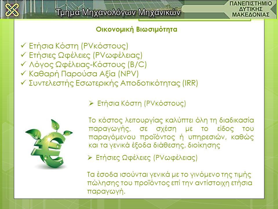 Οικονομική Βιωσιμότητα Ετήσια Κόστη (PVκόστους) Ετήσιες Ωφέλειες (PVωφέλειας) Λόγος Ωφέλειας-Κόστους (B/C) Καθαρή Παρούσα Αξία (NPV) Συντελεστής Εσωτερικής Αποδοτικότητας (IRR)  Ετήσια Κόστη (PVκόστους) Το κόστος λειτουργίας καλύπτει όλη τη διαδικασία παραγωγής, σε σχέση με το είδος του παραγόμενου προϊόντος ή υπηρεσιών, καθώς και τα γενικά έξοδα διάθεσης, διοίκησης  Ετήσιες Ωφέλειες (PVωφέλειας) Τα έσοδα ισούνται γενικά με το γινόμενο της τιμής πώλησης του προϊόντος επί την αντίστοιχη ετήσια παραγωγή.