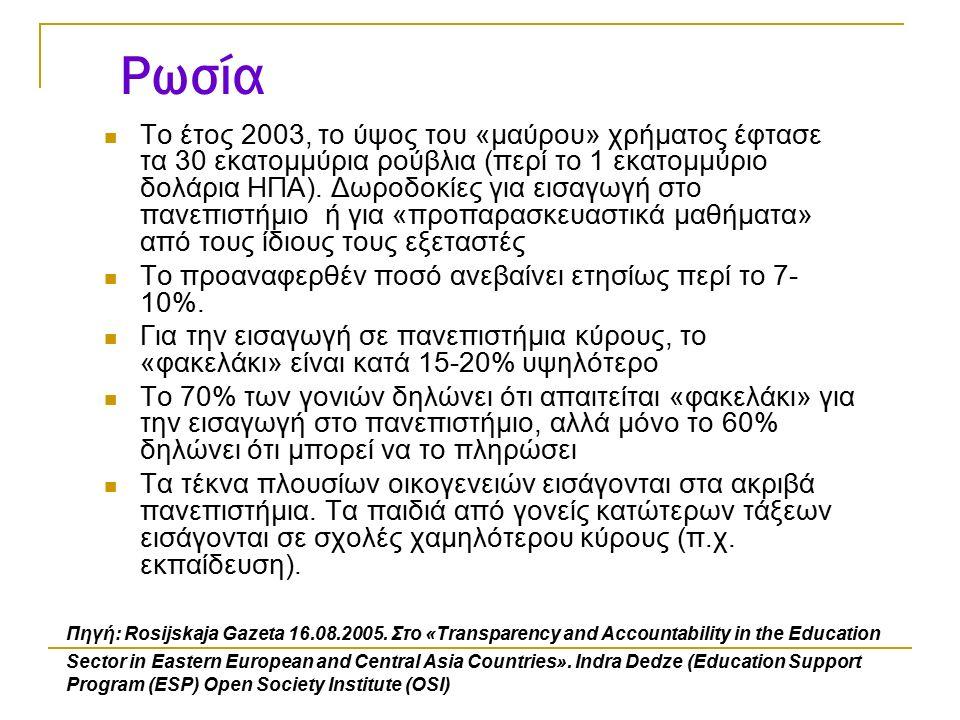Ρωσία Το έτος 2003, το ύψος του «μαύρου» χρήματος έφτασε τα 30 εκατομμύρια ρούβλια (περί το 1 εκατομμύριο δολάρια ΗΠΑ). Δωροδοκίες για εισαγωγή στο πα