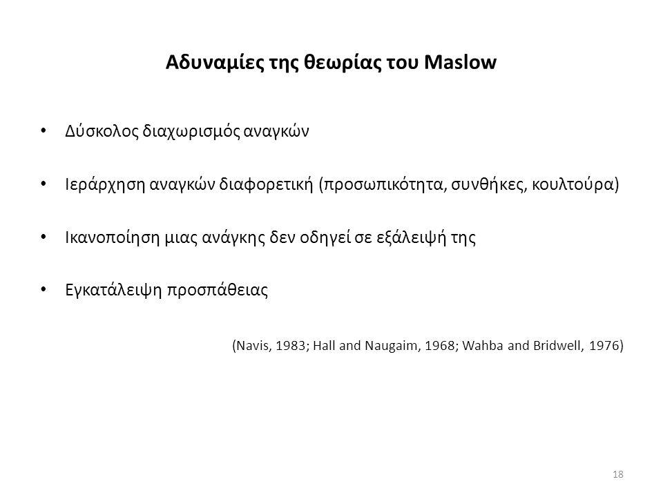 Αδυναμίες της θεωρίας του Maslow Δύσκολος διαχωρισμός αναγκών Ιεράρχηση αναγκών διαφορετική (προσωπικότητα, συνθήκες, κουλτούρα) Ικανοποίηση μιας ανάγκης δεν οδηγεί σε εξάλειψή της Εγκατάλειψη προσπάθειας (Navis, 1983; Hall and Naugaim, 1968; Wahba and Bridwell, 1976) 18