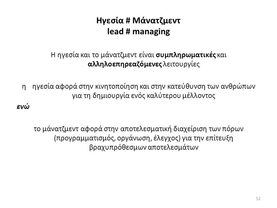 Ηγεσία # Μάνατζμεντ lead # managing Η ηγεσία και το μάνατζμεντ είναι συμπληρωματικές και αλληλοεπηρεαζόμενες λειτουργίες η ηγεσία αφορά στην κινητοποίηση και στην κατεύθυνση των ανθρώπων για τη δημιουργία ενός καλύτερου μέλλοντος ενώ το μάνατζμεντ αφορά στην αποτελεσματική διαχείριση των πόρων (προγραμματισμός, οργάνωση, έλεγχος) για την επίτευξη βραχυπρόθεσμων αποτελεσμάτων 52