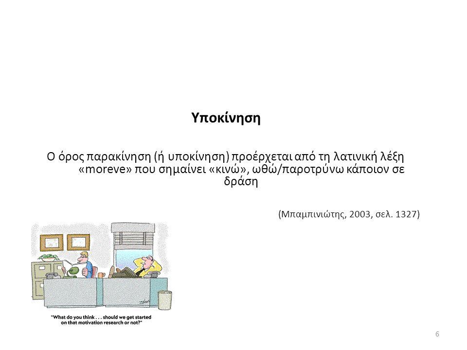 Υποκίνηση Ο όρος παρακίνηση (ή υποκίνηση) προέρχεται από τη λατινική λέξη «moreve» που σημαίνει «κινώ», ωθώ/παροτρύνω κάποιον σε δράση (Μπαμπινιώτης, 2003, σελ.