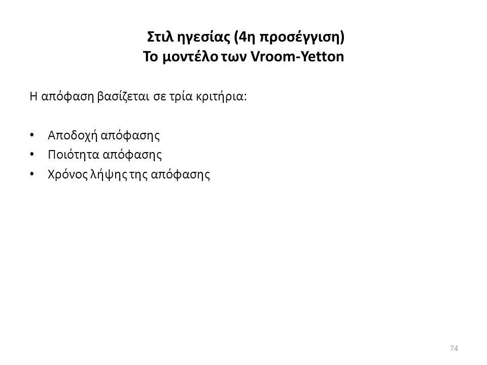 Στιλ ηγεσίας (4η προσέγγιση) Το μοντέλο των Vroom-Yetton Η απόφαση βασίζεται σε τρία κριτήρια: Αποδοχή απόφασης Ποιότητα απόφασης Χρόνος λήψης της απόφασης 74