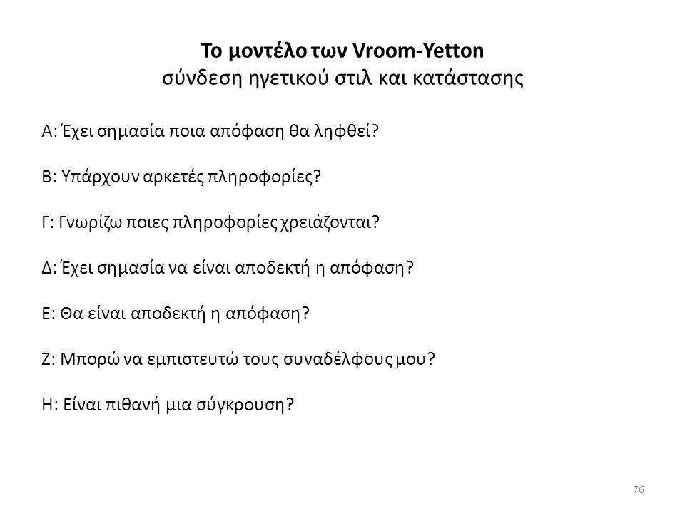 Το μοντέλο των Vroom-Yetton σύνδεση ηγετικού στιλ και κατάστασης Α: Έχει σημασία ποια απόφαση θα ληφθεί.