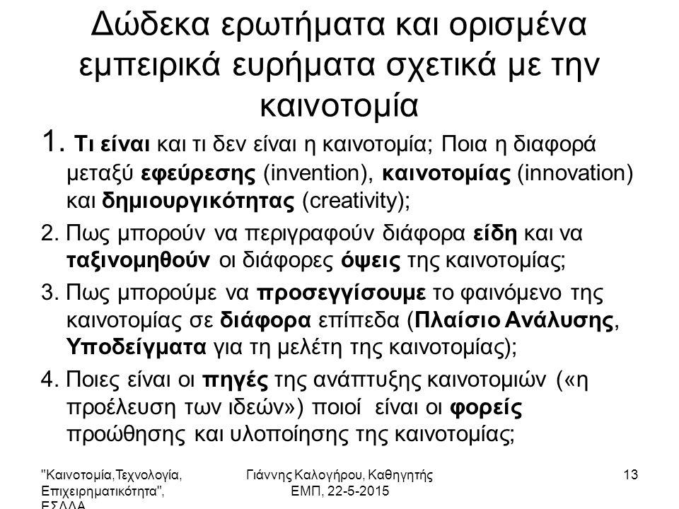 Δώδεκα ερωτήματα και ορισμένα εμπειρικά ευρήματα σχετικά με την καινοτομία 1.