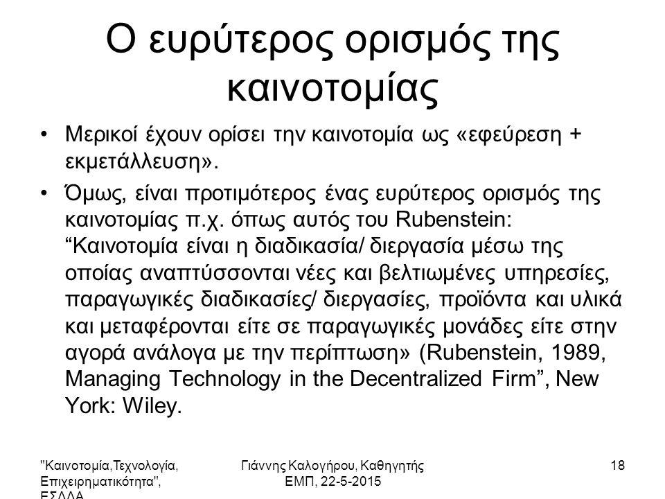 Καινοτομία,Τεχνολογία, Επιχειρηματικότητα , ΕΣΔΔΑ Γιάννης Καλογήρου, Καθηγητής ΕΜΠ, 22-5-2015 19 Διαφορά καινοτομίας και δημιουργικότητας Δημιουργικότητα: Η διεργασία έκφρασης και ανάπτυξης νεωτεριστικών ιδεών που μπορεί να είναι χρήσιμες.