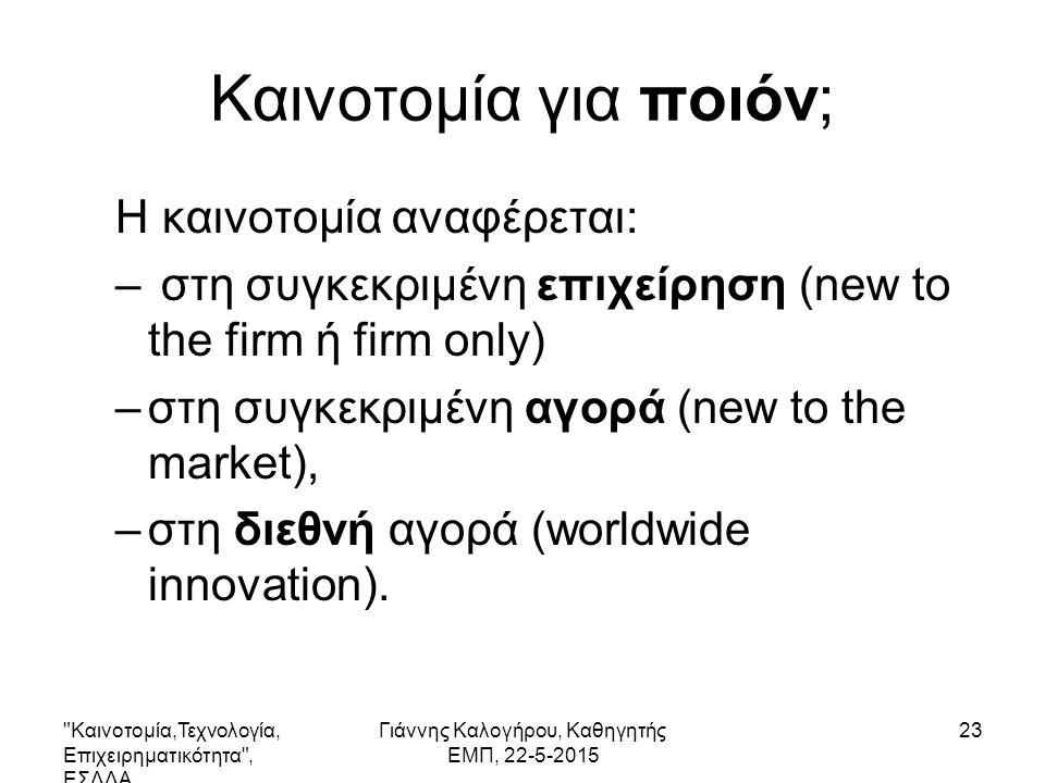 Καινοτομία,Τεχνολογία, Επιχειρηματικότητα , ΕΣΔΔΑ Γιάννης Καλογήρου, Καθηγητής ΕΜΠ, 22-5-2015 23 Καινοτομία για ποιόν; Η καινοτομία αναφέρεται: – στη συγκεκριμένη επιχείρηση (new to the firm ή firm only) –στη συγκεκριμένη αγορά (new to the market), –στη διεθνή αγορά (worldwide innovation).