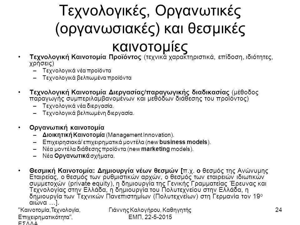 Καινοτομία,Τεχνολογία, Επιχειρηματικότητα , ΕΣΔΔΑ Γιάννης Καλογήρου, Καθηγητής ΕΜΠ, 22-5-2015 24 Τεχνολογικές, Οργανωτικές (οργανωσιακές) και θεσμικές καινοτομίες Τεχνολογική Καινοτομία Προϊόντος (τεχνικά χαρακτηριστικά, επίδοση, ιδιότητες, χρήσεις) –Τεχνολογικά νέα προϊόντα –Τεχνολογικά βελτιωμένα προϊόντα Τεχνολογική Καινοτομία Διεργασίας/παραγωγικής διαδικασίας (μέθοδος παραγωγής συμπεριλαμβανομένων και μεθόδων διάθεσης του προϊόντος) –Τεχνολογικά νέα διεργασία.