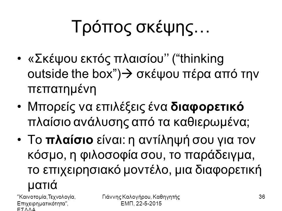 Τρόπος σκέψης… «Σκέψου εκτός πλαισίου'' ( thinking outside the box )  σκέψου πέρα από την πεπατημένη Μπορείς να επιλέξεις ένα διαφορετικό πλαίσιο ανάλυσης από τα καθιερωμένα; Το πλαίσιο είναι: η αντίληψή σου για τον κόσμο, η φιλοσοφία σου, το παράδειγμα, το επιχειρησιακό μοντέλο, μια διαφορετική ματιά Καινοτομία,Τεχνολογία, Επιχειρηματικότητα , ΕΣΔΔΑ Γιάννης Καλογήρου, Καθηγητής ΕΜΠ, 22-5-2015 36