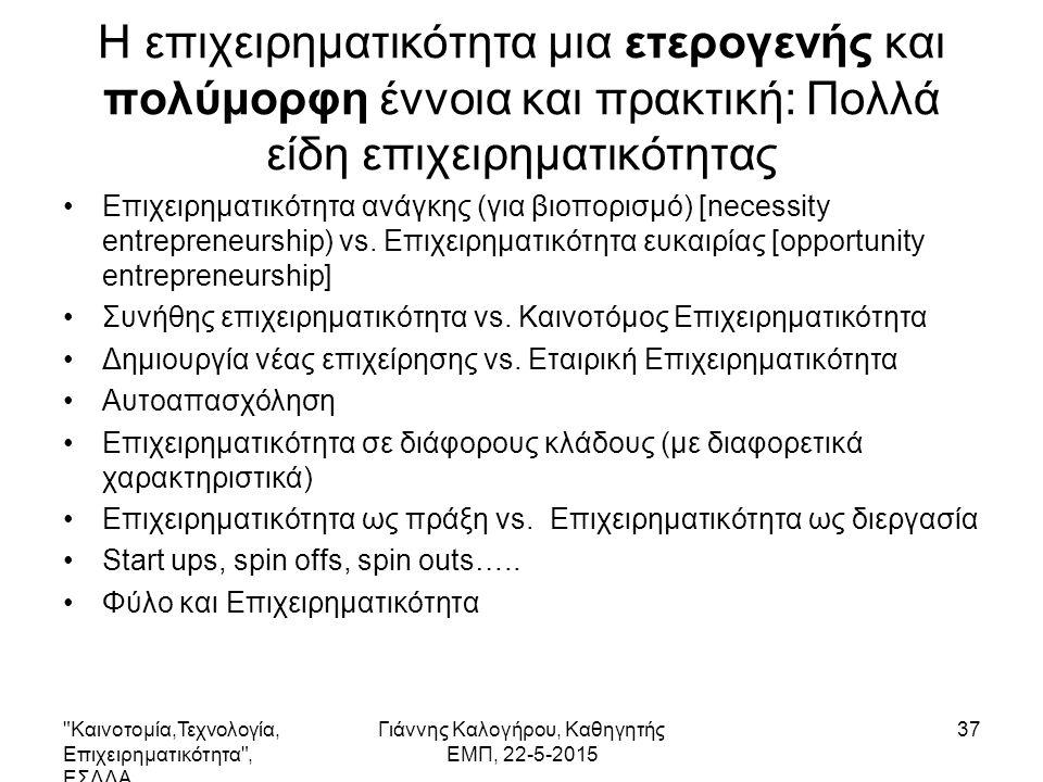 Η επιχειρηματικότητα μια ετερογενής και πολύμορφη έννοια και πρακτική: Πολλά είδη επιχειρηματικότητας Επιχειρηματικότητα ανάγκης (για βιοπορισμό) [necessity entrepreneurship) vs.