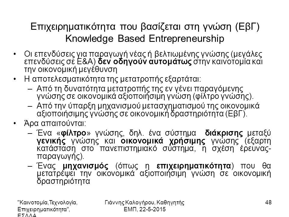 48 Επιχειρηματικότητα που βασίζεται στη γνώση (ΕβΓ) Knowledge Based Entrepreneurship Οι επενδύσεις για παραγωγή νέας ή βελτιωμένης γνώσης (μεγάλες επενδύσεις σε Ε&Α) δεν οδηγούν αυτομάτως στην καινοτομία και την οικονομική μεγέθυνση Η αποτελεσματικότητα της μετατροπής εξαρτάται: –Από τη δυνατότητα μετατροπής της εν γένει παραγόμενης γνώσης σε οικονομικά αξιοποιήσιμη γνώση (φίλτρο γνώσης).