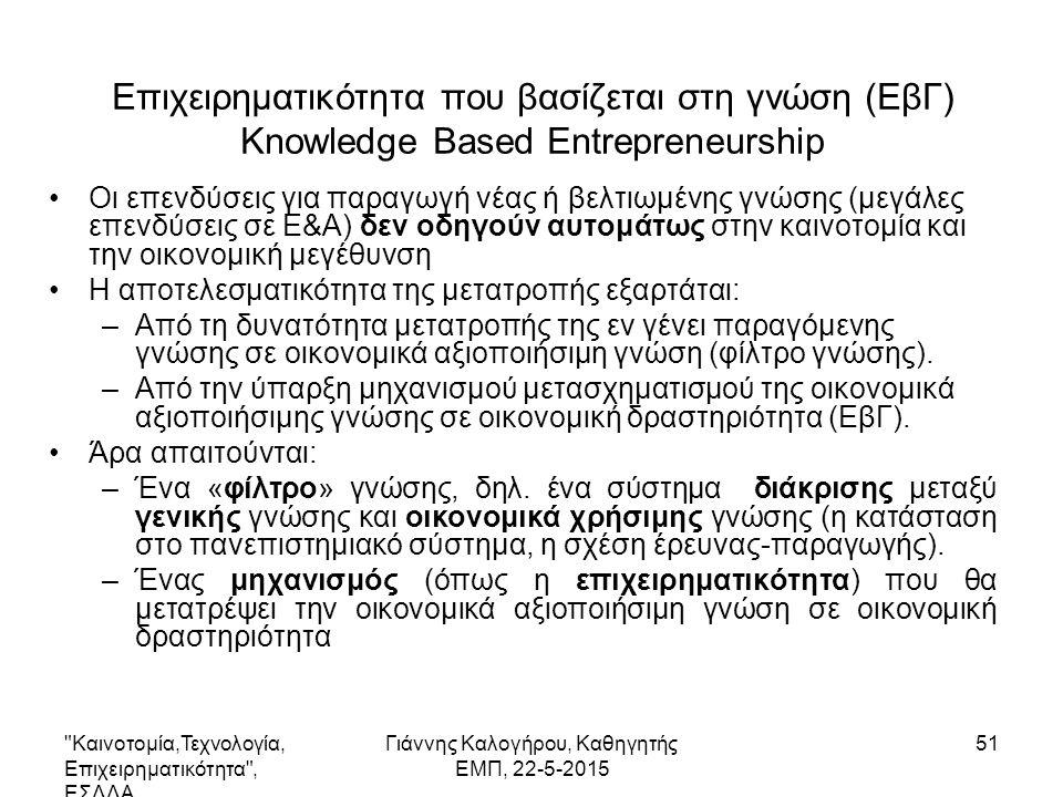 51 Επιχειρηματικότητα που βασίζεται στη γνώση (ΕβΓ) Knowledge Based Entrepreneurship Οι επενδύσεις για παραγωγή νέας ή βελτιωμένης γνώσης (μεγάλες επενδύσεις σε Ε&Α) δεν οδηγούν αυτομάτως στην καινοτομία και την οικονομική μεγέθυνση Η αποτελεσματικότητα της μετατροπής εξαρτάται: –Από τη δυνατότητα μετατροπής της εν γένει παραγόμενης γνώσης σε οικονομικά αξιοποιήσιμη γνώση (φίλτρο γνώσης).
