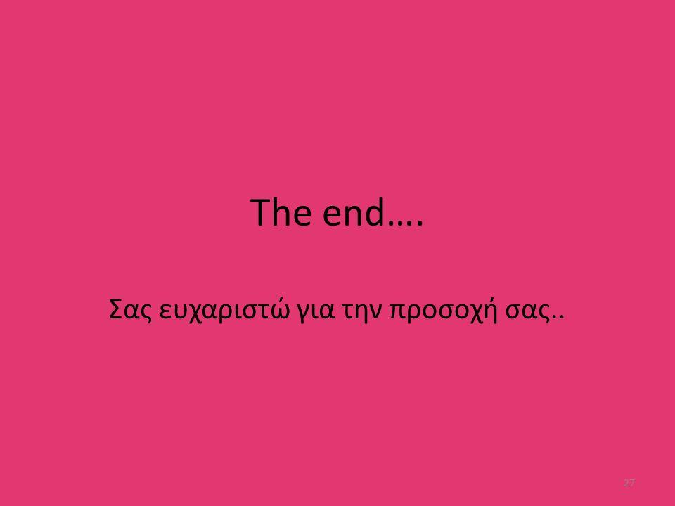 The end…. Σας ευχαριστώ για την προσοχή σας.. 27