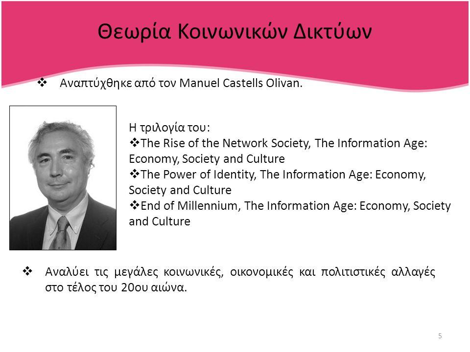 5 Θεωρία Κοινωνικών Δικτύων  Αναπτύχθηκε από τον Manuel Castells Olivan.