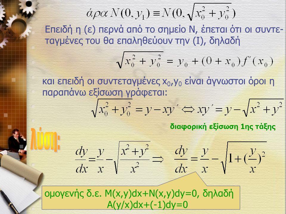 διαφορική εξίσωση 1ης τάξης Επειδή η (ε) περνά από το σημείο Ν, έπεται ότι οι συντε- ταγμένες του θα επαληθεύουν την (Ι), δηλαδή και επειδή οι συντεταγμένες x 0,y 0 είναι άγνωστοι όροι η παραπάνω εξίσωση γράφεται: ομογενής δ.ε.