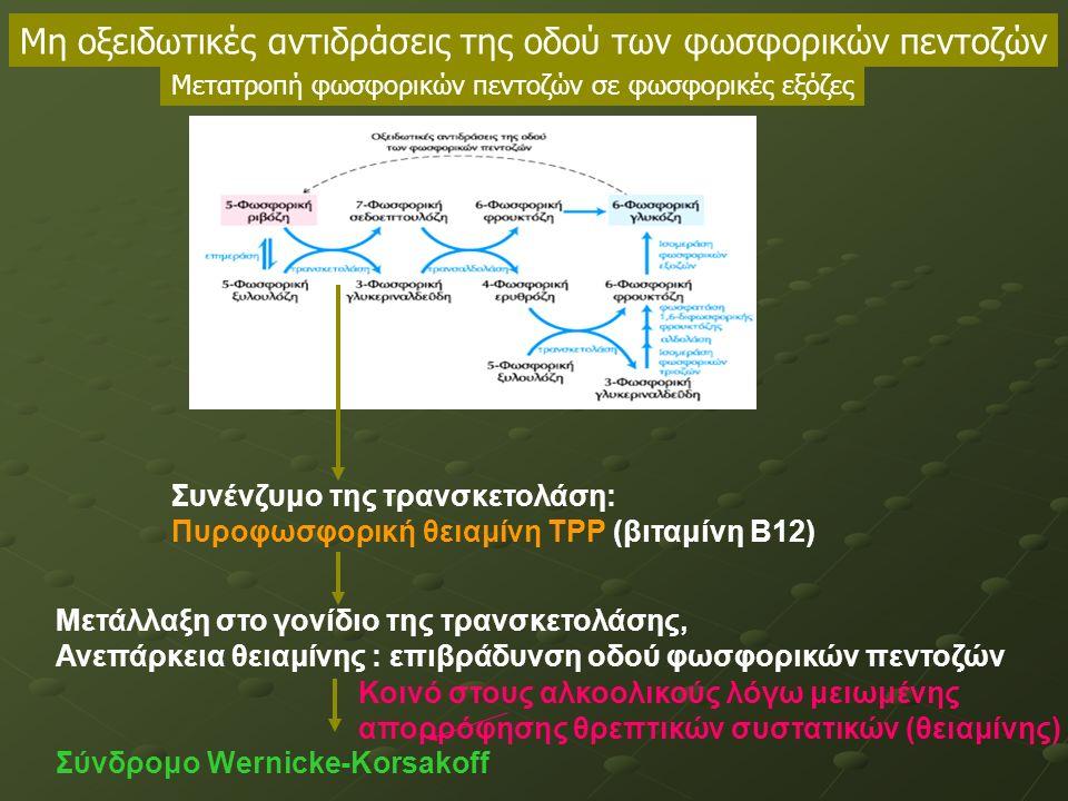 Συνένζυμο της τρανσκετολάση: Πυροφωσφορική θειαμίνη ΤΡΡ (βιταμίνη B12) Μετάλλαξη στο γονίδιο της τρανσκετολάσης, Ανεπάρκεια θειαμίνης : επιβράδυνση οδού φωσφορικών πεντοζών Σύνδρομο Wernicke-Korsakoff Μη οξειδωτικές αντιδράσεις της οδού των φωσφορικών πεντοζών Μετατροπή φωσφορικών πεντοζών σε φωσφορικές εξόζες Κοινό στους αλκοολικούς λόγω μειωμένης απορρόφησης θρεπτικών συστατικών (θειαμίνης)