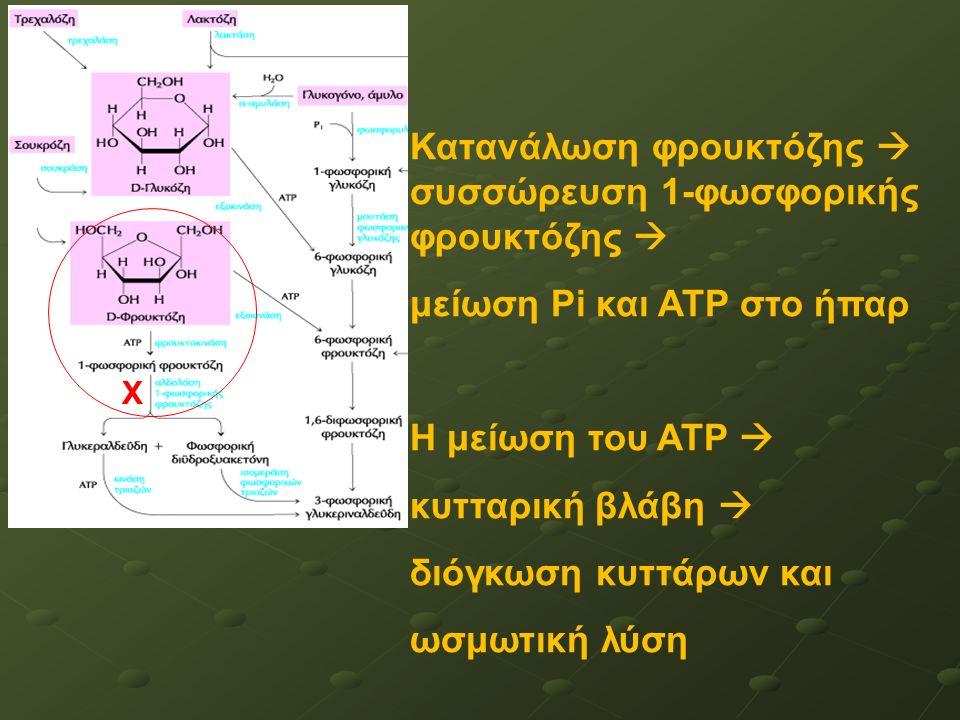 Χ Κατανάλωση φρουκτόζης  συσσώρευση 1-φωσφορικής φρουκτόζης  μείωση Pi και ATP στο ήπαρ Η μείωση του ATP  κυτταρική βλάβη  διόγκωση κυττάρων και ωσμωτική λύση