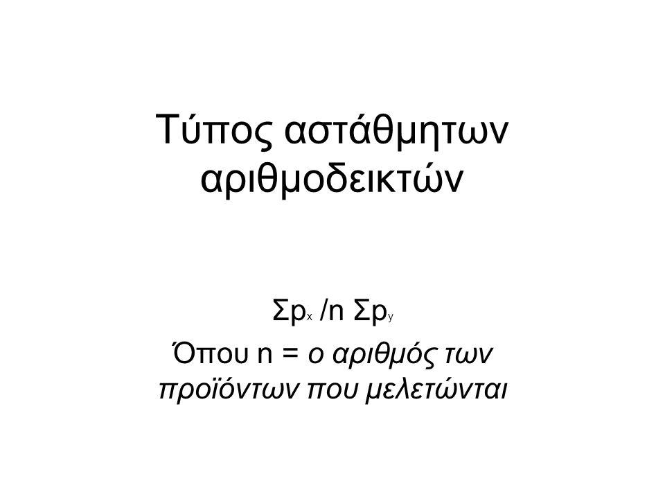 Τύπος αστάθμητων αριθμοδεικτών Σp x /n Σp y Όπου n = ο αριθμός των προϊόντων που μελετώνται