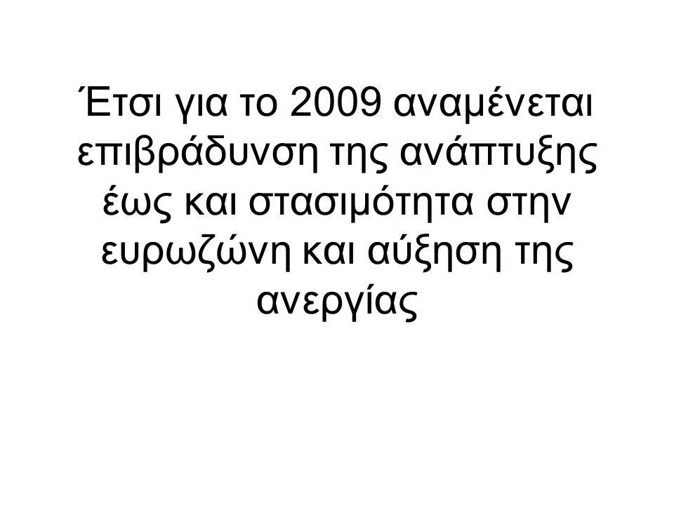 Έτσι για το 2009 αναμένεται επιβράδυνση της ανάπτυξης έως και στασιμότητα στην ευρωζώνη και αύξηση της ανεργίας