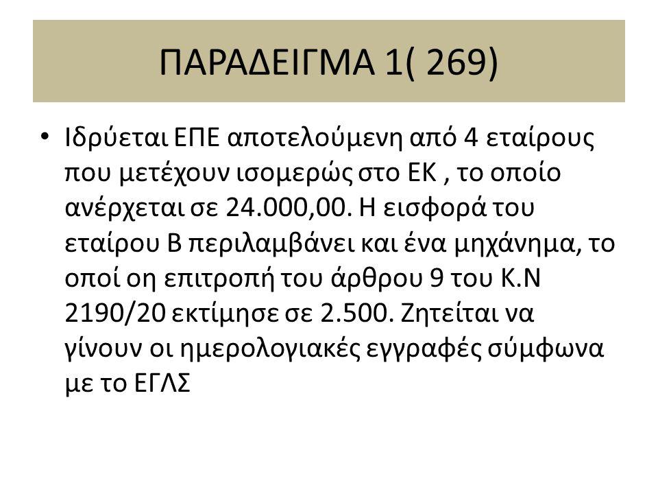 ΠΑΡΑΔΕΙΓΜΑ 1( 269) Ιδρύεται ΕΠΕ αποτελούμενη από 4 εταίρους που μετέχουν ισομερώς στο ΕΚ, το οποίο ανέρχεται σε 24.000,00.