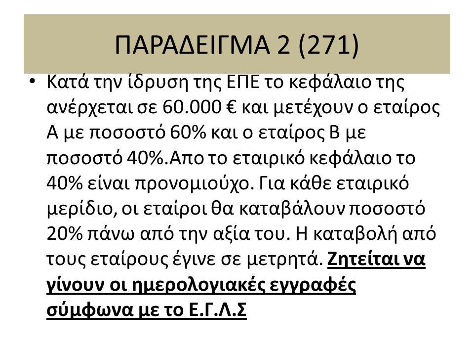 ΠΑΡΑΔΕΙΓΜΑ 2 (271) Κατά την ίδρυση της ΕΠΕ το κεφάλαιο της ανέρχεται σε 60.000 € και μετέχουν ο εταίρος Α με ποσοστό 60% και ο εταίρος Β με ποσοστό 40%.Απο το εταιρικό κεφάλαιο το 40% είναι προνομιούχο.