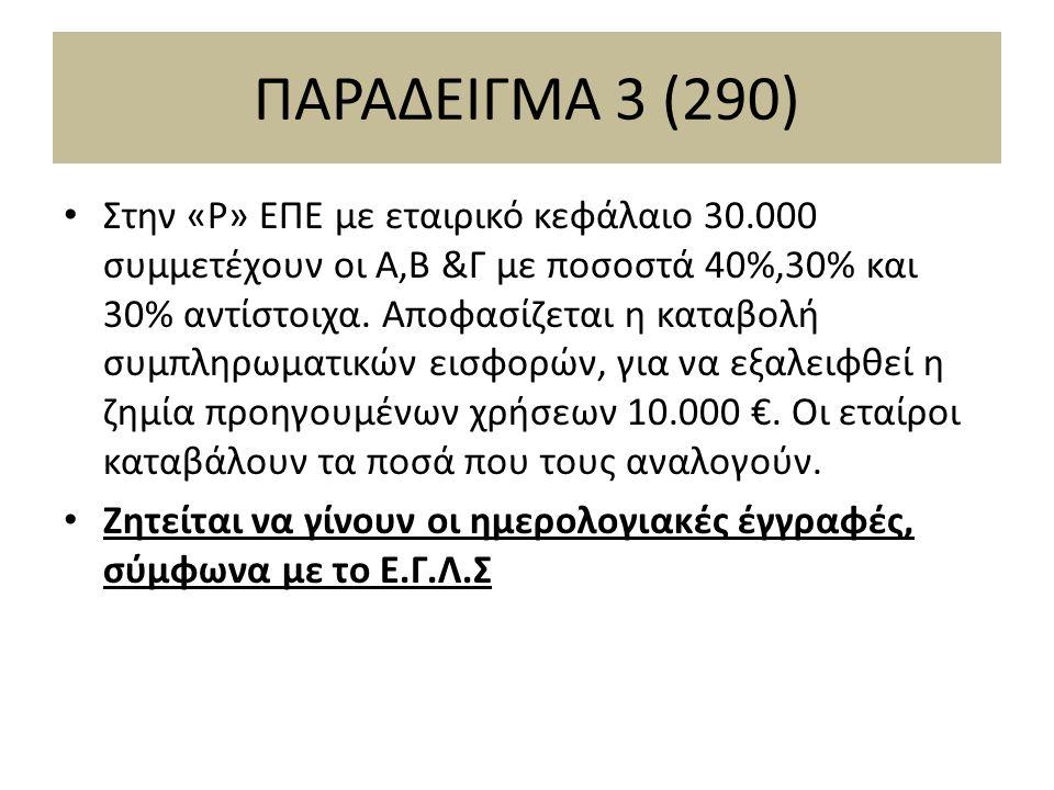 ΠΑΡΑΔΕΙΓΜΑ 3 (290) Στην «Ρ» ΕΠΕ με εταιρικό κεφάλαιο 30.000 συμμετέχουν οι Α,Β &Γ με ποσοστά 40%,30% και 30% αντίστοιχα.