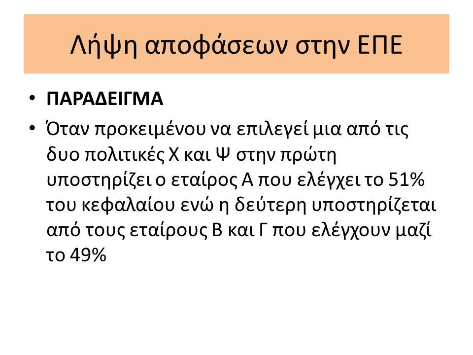 Λήψη αποφάσεων στην ΕΠΕ Σε ορισμένες περιπτώσεις όπως πχ τροποποίηση της εταιρικής συμβάσεως, η απόφαση λαμβάνεται από τα ¾ του αριθμού των εταίρων εκπροσωπούντων τα ¾ του Ε.Κ Προκειμένου να ληφθεί απόφαση α) για μεταβολή της εθνικότητας της Ε.Π.Ε β) για επαύξηση των υποχρεώσεων ή της ευθύνης των εταίρων και για μείωση των δικαιωμάτων των, απαιτείται συναίνεση όλων των εταίρων.