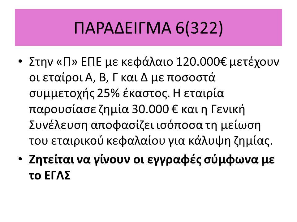 ΠΑΡΑΔΕΙΓΜΑ 6(322) Στην «Π» ΕΠΕ με κεφάλαιο 120.000€ μετέχουν οι εταίροι Α, Β, Γ και Δ με ποσοστά συμμετοχής 25% έκαστος.