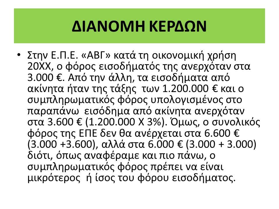 Στην Ε.Π.Ε. «ΑΒΓ» κατά τη οικονοµική χρήση 20ΧΧ, ο φόρος εισοδήµατός της ανερχόταν στα 3.000 €.