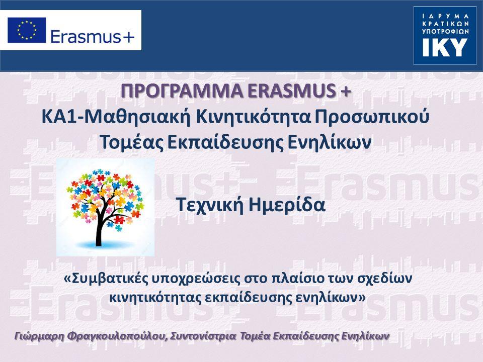 Γιώρμαρη Φραγκουλοπούλου, Συντονίστρια Τομέα Εκπαίδευσης Ενηλίκων ΠΡΟΓΡΑΜΜΑ ERASMUS + ΚΑ1-Μαθησιακή Κινητικότητα Προσωπικού Τομέας Εκπαίδευσης Ενηλίκων Τεχνική Ημερίδα «Συμβατικές υποχρεώσεις στο πλαίσιο των σχεδίων κινητικότητας εκπαίδευσης ενηλίκων»