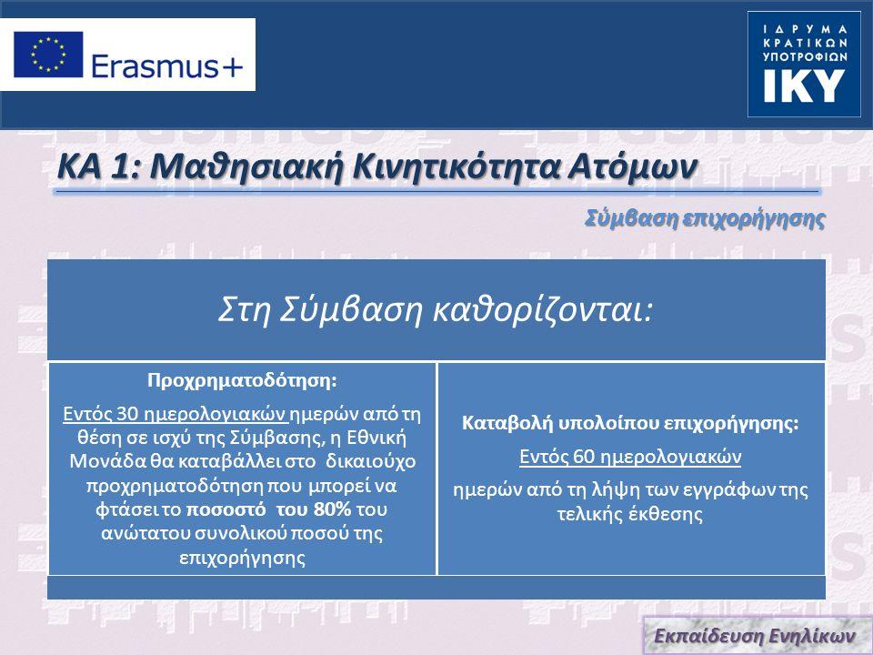 ΚΑ 1: Μαθησιακή Κινητικότητα Ατόμων Σύμβαση επιχορήγησης Εκπαίδευση Ενηλίκων Στη Σύμβαση καθορίζονται: Τραπεζικός λογαριασμός για πληρωμές: Επωνυμία Τράπεζας, Διεύθυνση υποκαταστήματος, Ακριβής επωνυμία Δικαιούχου του λογαριασμού, Πλήρης αριθμός λογαριασμού (συμπεριλαμβανόμενων των τραπεζικών κωδικών), Κωδικός IBAN, Κωδικός SWIFT Στοιχεία επικοινωνίας δικαιούχου: Πλήρης Επωνυμία / Ονοματεπώνυμο, Ιδιότητα / Θέση, Επωνυμία Ιδρύματος Εκπαίδευσης, Πλήρης επίσημη διεύθυνση, Ηλεκτρονική διεύθυνση