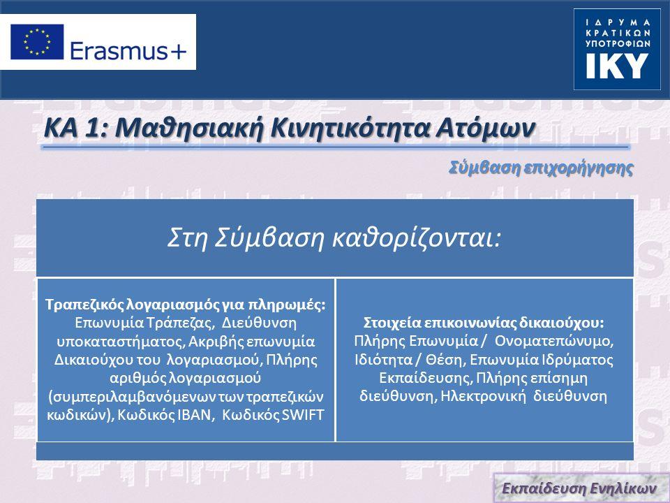 ΚΑ 1: Μαθησιακή Κινητικότητα Ατόμων Για την εκταμίευση της Β' Δόσης, μαζί με την τελική έκθεση, θα αποσταλούν επιπλέον δικαιολογητικά στο πλαίσιο desk check ελέγχου Ο δικαιούχος δύναται να χρησιμοποιήσει την Πλατφόρμα Αποτελεσμάτων Σχεδίων ERASMUS+ http://ec.europa.eu/programmes/erasmus-plus/projects/ προκειμένου να διαδοθούν τα αποτελέσματα του Σχεδίου.