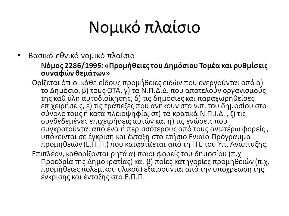 Νομικό πλαίσιο Βασικό εθνικό νομικό πλαίσιο – Νόμος 2286/1995: «Προμήθειες του Δημόσιου Τομέα και ρυθμίσεις συναφών θεμάτων» Ορίζεται ότι οι κάθε είδους προμήθειες ειδών που ενεργούνται από α) το Δημόσιο, β) τους ΟΤΑ, γ) τα Ν.Π.Δ.Δ.