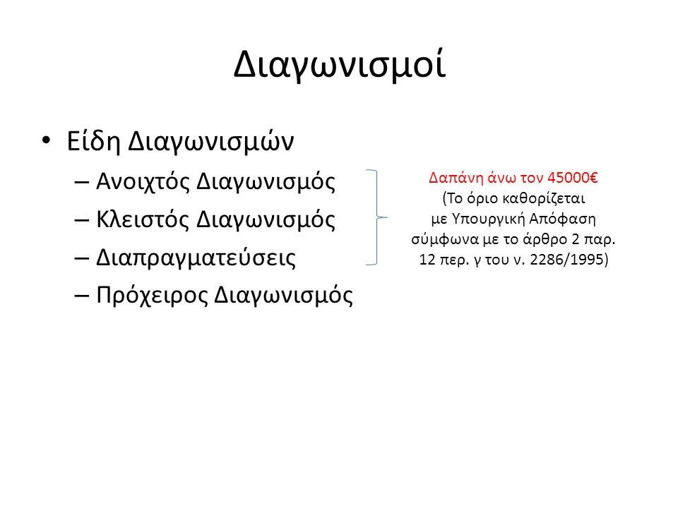 Διαγωνισμοί Είδη Διαγωνισμών – Ανοιχτός Διαγωνισμός – Κλειστός Διαγωνισμός – Διαπραγματεύσεις – Πρόχειρος Διαγωνισμός Δαπάνη άνω τον 45000€ (Το όριο καθορίζεται με Υπουργική Απόφαση σύμφωνα με το άρθρο 2 παρ.