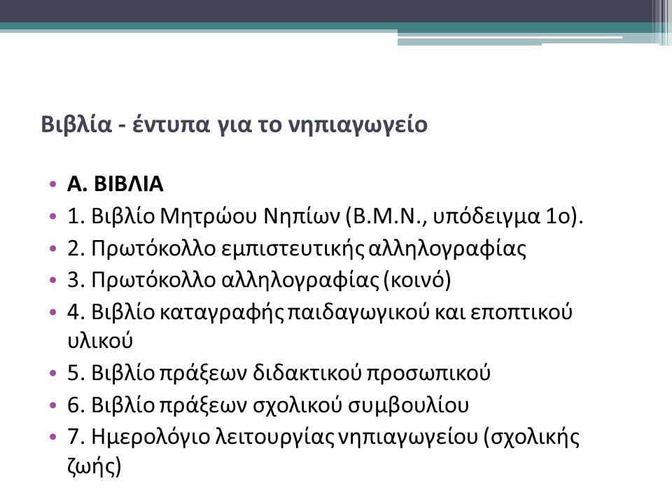 Βιβλία - έντυπα για το νηπιαγωγείο Α. ΒΙΒΛΙΑ 1. Βιβλίο Μητρώου Νηπίων (Β.Μ.Ν., υπόδειγμα 1ο).