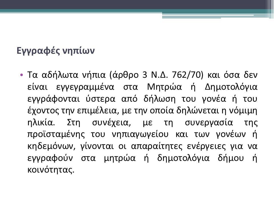Εγγραφές νηπίων Τα αδήλωτα νήπια (άρθρο 3 Ν.Δ.