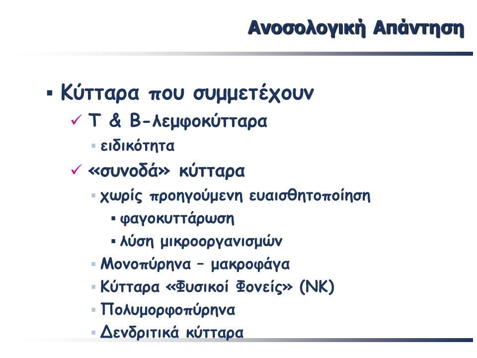 19 Βασικές έννοιες Το φυσιολογικό άτομο έχει την ικανότητα ανοσοαπάντησης σε κάθε ξένο εισβολέα Πλήρης ανοσία επιτυγχάνεται μόνο μετά την επαφή με τον εισβολέα-αντιγόνο και είναι ειδική για αυτόν Ανοσοποίηση (immunization): αρχική επαφή του οργανισμού με ένα ξένο αντιγόνο (βακτήριο, ιό, ξενομόσχευμα), που προκαλεί παραγωγή αντισωμάτων και ενεργοποίηση Τ-λεμφοκυτταρικών πληθυσμών (ειδική ανοσιακή απάντηση, ΕΑΑ) Ρόλος ΕΑΑ: συμπλήρωση και ολοκλήρωση της προφύλαξης, που παρέχει η μη ειδική ανοσιακή απάντηση
