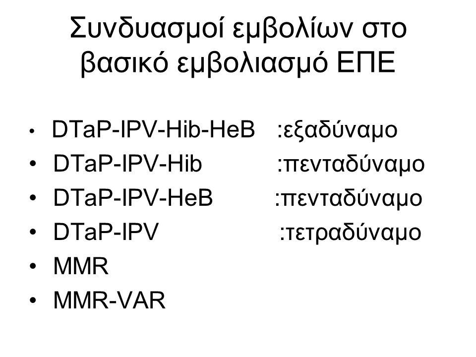 Συνδυασμοί εμβολίων στο βασικό εμβολιασμό ΕΠΕ DTaP-IPV-Hib-HeB :εξαδύναμο DTaP-IPV-Hib :πενταδύναμο DTaP-IPV-HeB :πενταδύναμο DTaP-IPV :τετραδύναμο MMR MMR-VAR