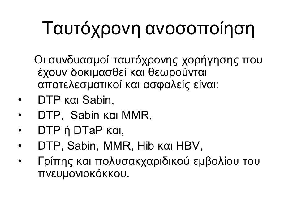 Ταυτόχρονη ανοσοποίηση Οι συνδυασμοί ταυτόχρονης χορήγησης που έχουν δοκιμασθεί και θεωρούνται αποτελεσματικοί και ασφαλείς είναι: DTP και Sabin, DTP, Sabin και MMR, DTP ή DTaP και, DTP, Sabin, MMR, Hib και HBV, Γρίπης και πολυσακχαριδικού εμβολίου του πνευμονιοκόκκου.