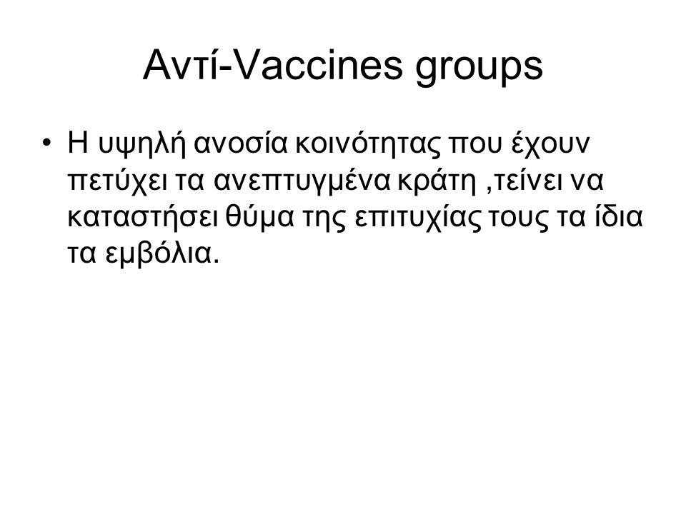 Αντί-Vaccines groups Η υψηλή ανοσία κοινότητας που έχουν πετύχει τα ανεπτυγμένα κράτη,τείνει να καταστήσει θύμα της επιτυχίας τους τα ίδια τα εμβόλια.
