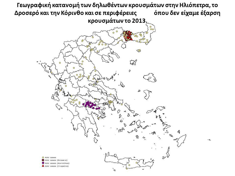 Γεωγραφική κατανομή των δηλωθέντων κρουσμάτων στην Ηλιόπετρα, το Δροσερό και την Κόρινθο και σε περιφέρειες όπου δεν είχαμε έξαρση κρουσμάτων το 2013.