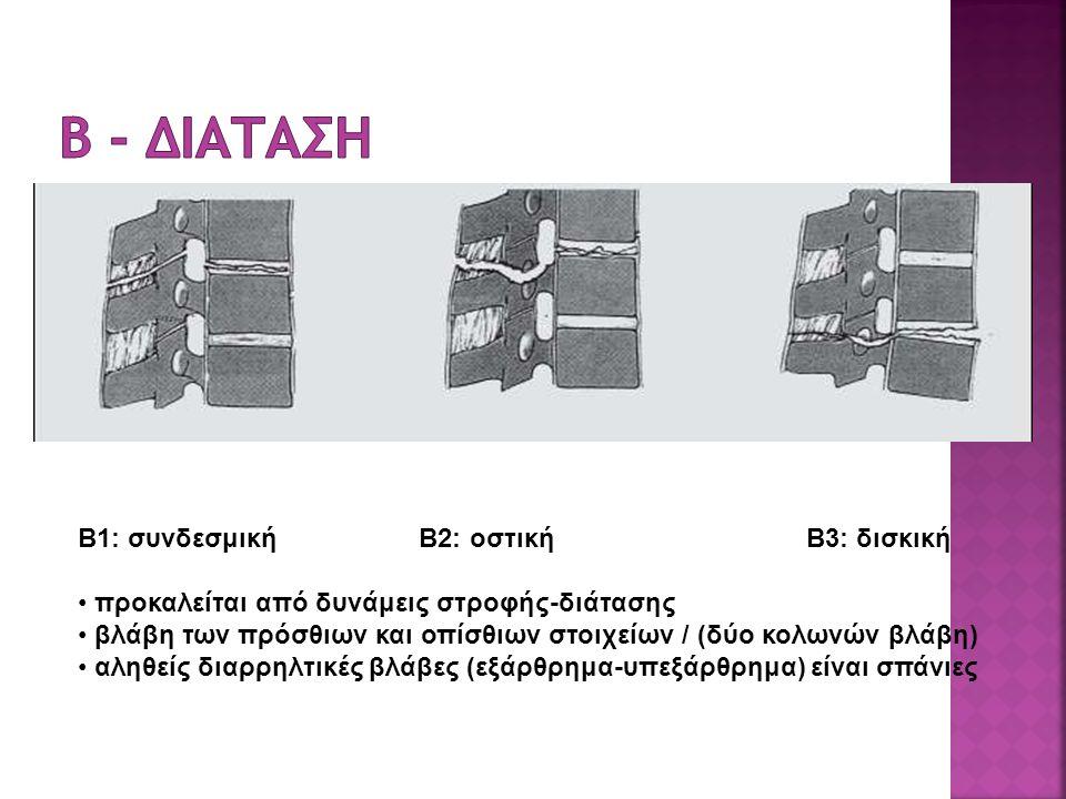 B1: συνδεσμική B2: οστική B3: δισκική προκαλείται από δυνάμεις στροφής-διάτασης βλάβη των πρόσθιων και οπίσθιων στοιχείων / (δύο κολωνών βλάβη) αληθείς διαρρηλτικές βλάβες (εξάρθρημα-υπεξάρθρημα) είναι σπάνιες