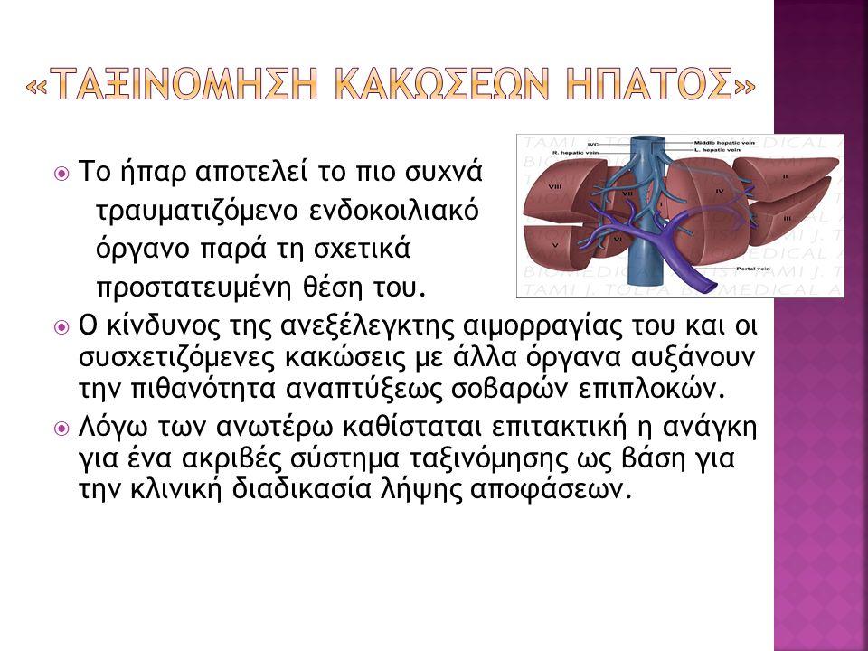  Το ήπαρ αποτελεί το πιο συχνά τραυματιζόμενο ενδοκοιλιακό όργανο παρά τη σχετικά προστατευμένη θέση του.  Ο κίνδυνος της ανεξέλεγκτης αιμορραγίας τ