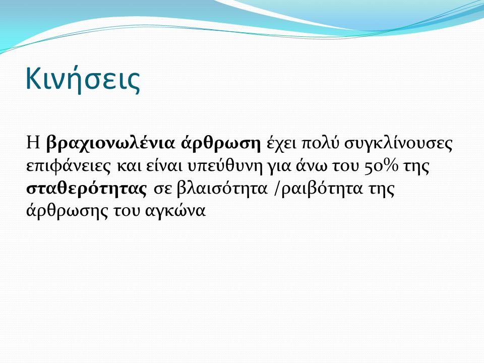 Κινήσεις Η βραχιονωλένια άρθρωση έχει πολύ συγκλίνουσες επιφάνειες και είναι υπεύθυνη για άνω του 50% της σταθερότητας σε βλαισότητα /ραιβότητα της άρ