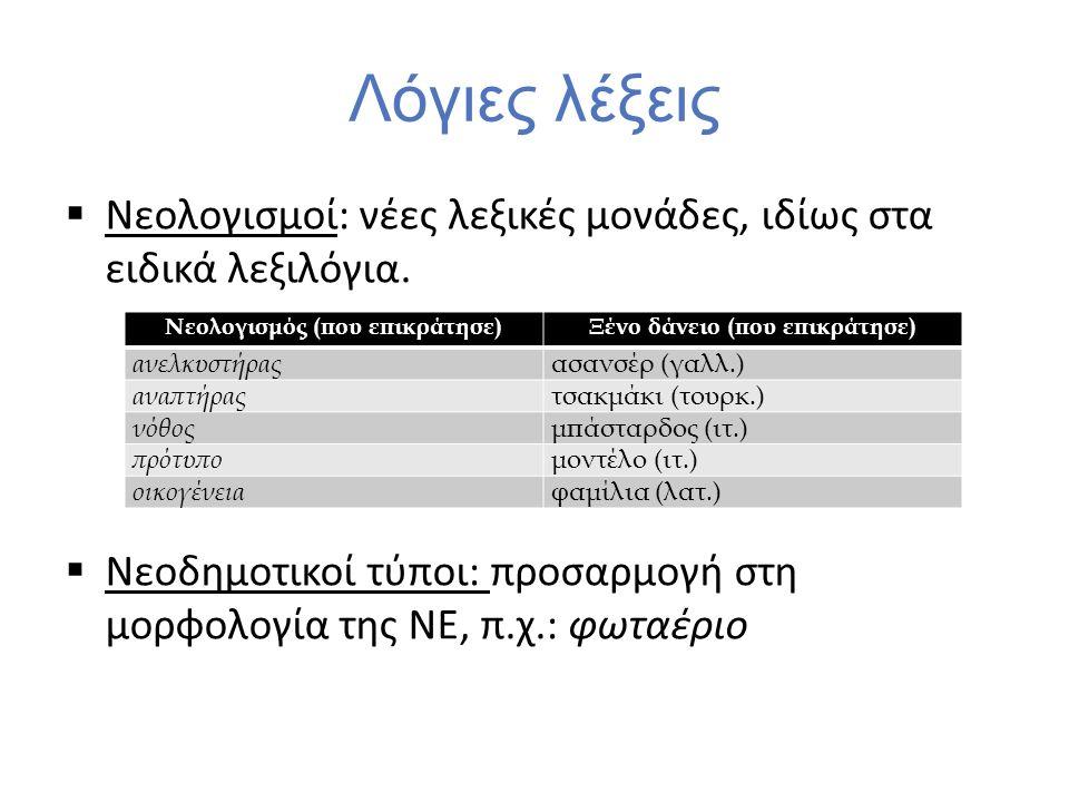 Λόγιες λέξεις  Νεολογισμοί: νέες λεξικές μονάδες, ιδίως στα ειδικά λεξιλόγια.